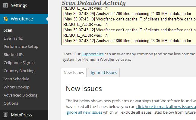 WordFence User Interface