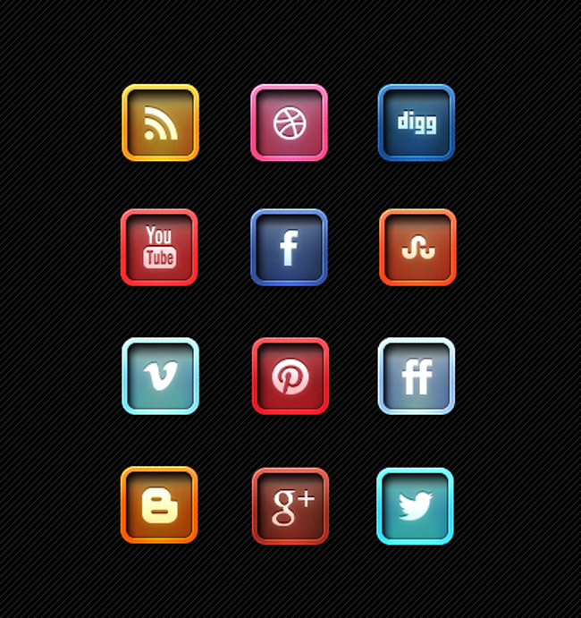 Beautiful Free Letter Pressed Social Media Icons