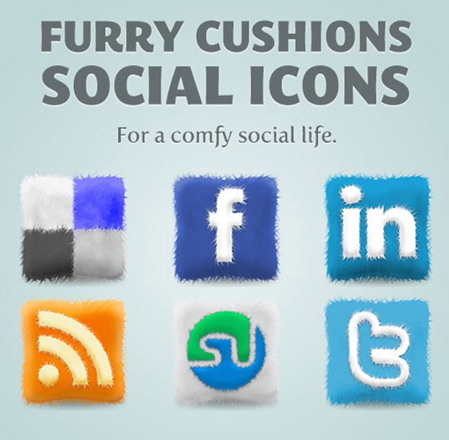 Free Furry Cushions Social Icons Set