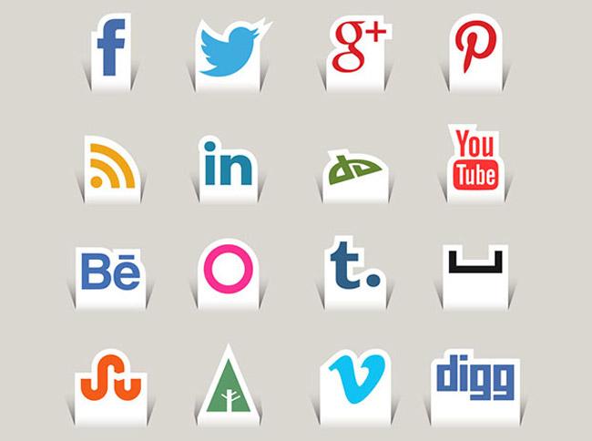 Free Paper Cut Social Media Icons