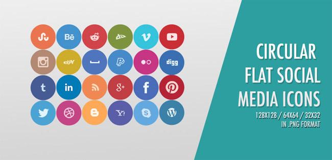 24 Free Circular Flat Social Media Icons