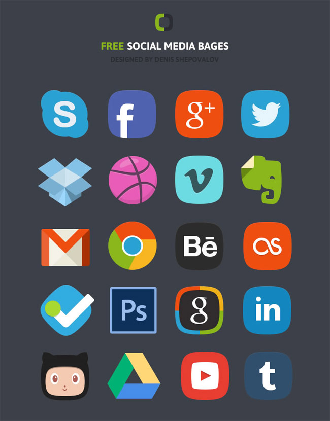 The Social Media Badges Icon Set