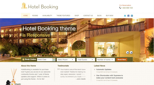HotelBooking WordPress Theme