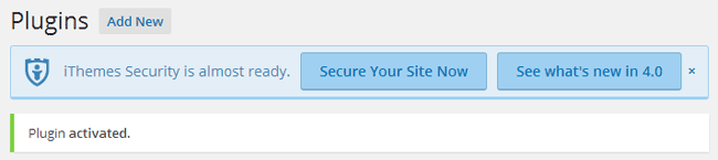 iThemes Security Get Started Alert
