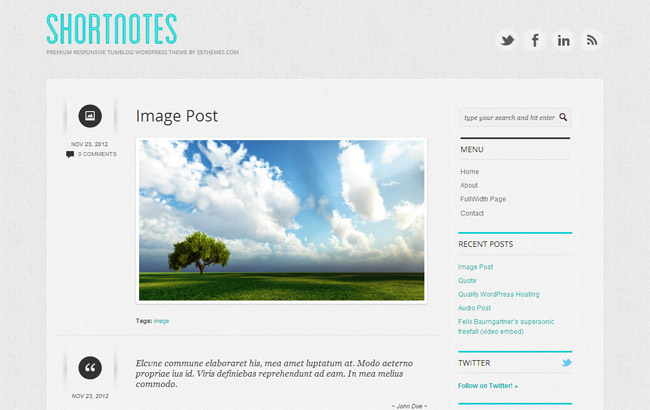 Shortnotes Free WordPress Theme