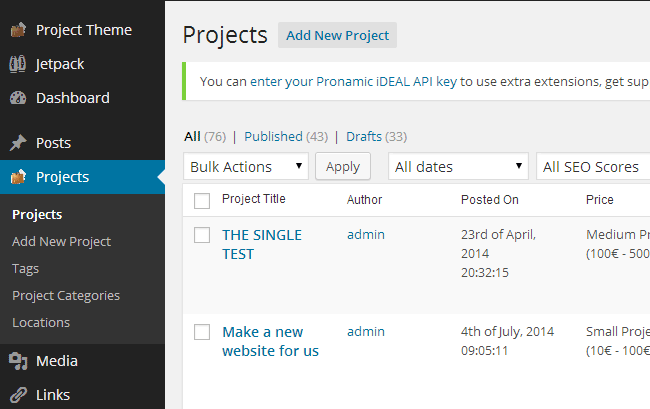 Project Post Types