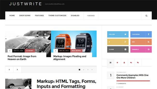 JustWrite Free WordPress Theme