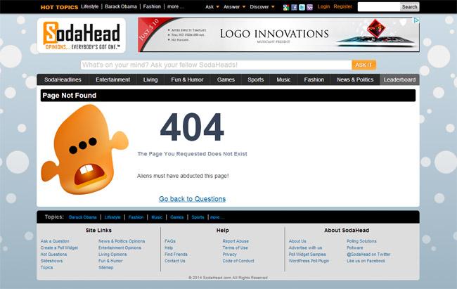 SodaHead Error Page