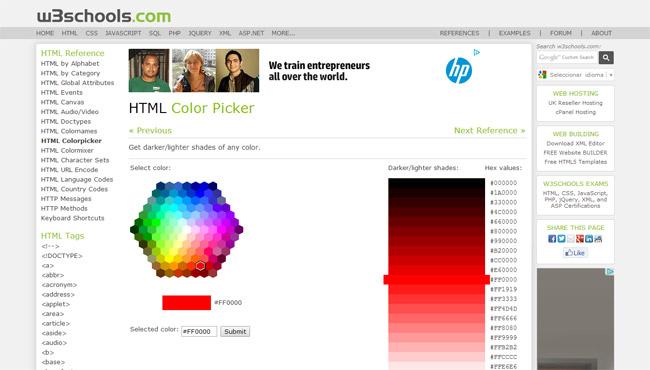 W3Schools Color Picker Website