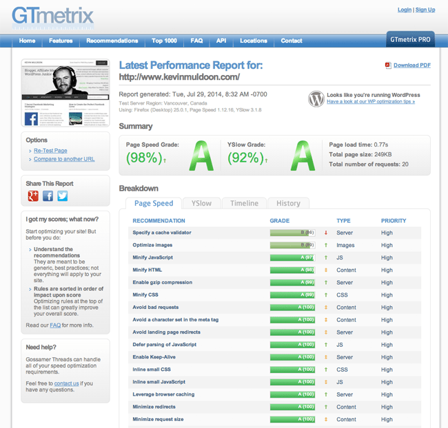 WP Rocket GTmetrix Report 2014