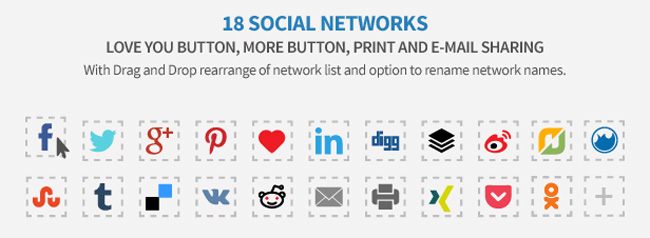 Easy Social Share Buttons Supported Networks