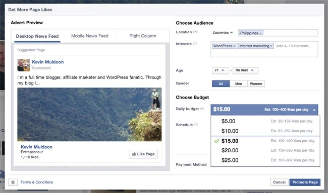 Facebook Example Cost for the Philippines
