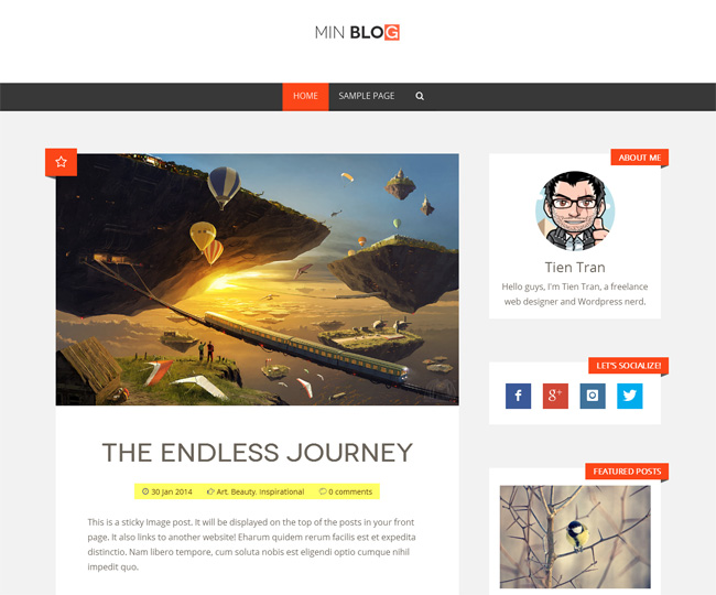 MinBlog Blog WP Theme