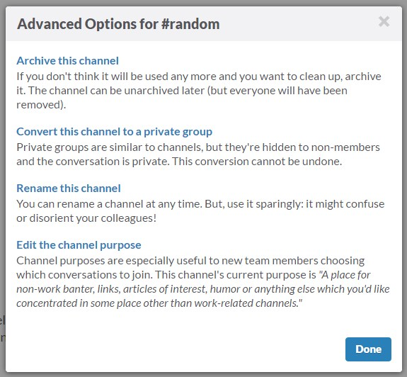 Slack- advanced options