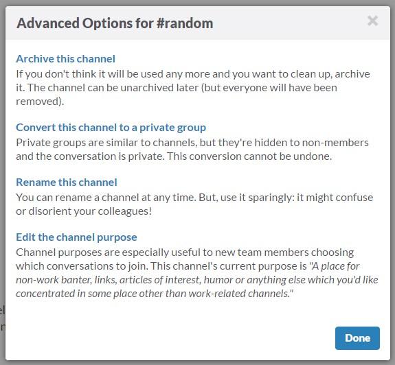 Slack- advanced options