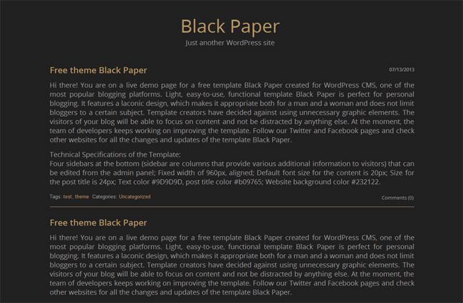 Black Paper Free WordPress Theme