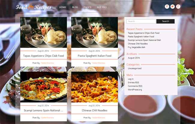 Food Recipes Free WordPress Theme