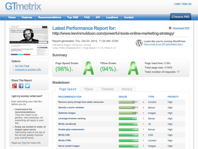 GTmetrix Report with Easy Social Share Buttons