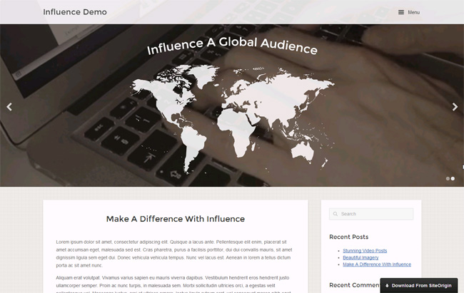 Influence Free WordPress Theme