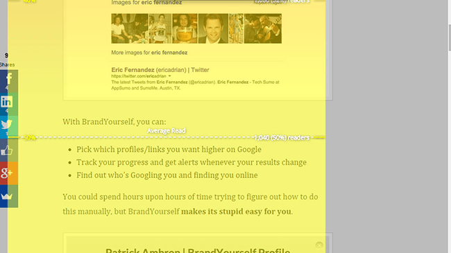 SumoMe Content Analytics-Screenshot