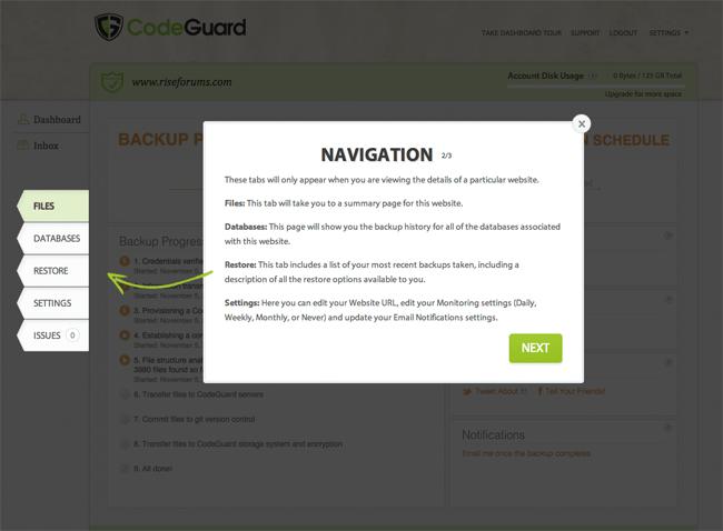 CodeGuard Navigation Links