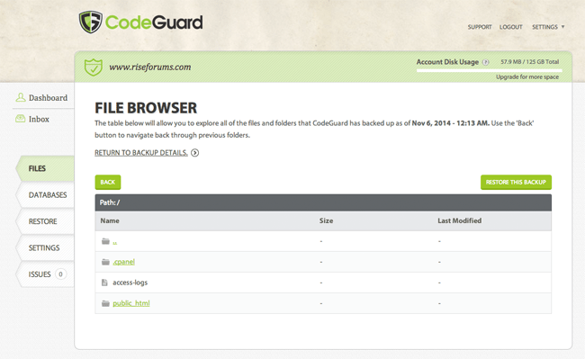 CodeGuard File Browser