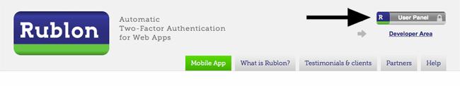 Rublon User Panel Link