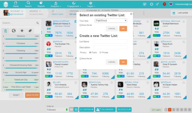 SocialBro: Search Lists