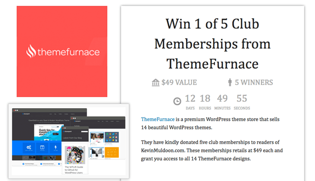 Win 1 of 5 Club Memberships from ThemeFurnace