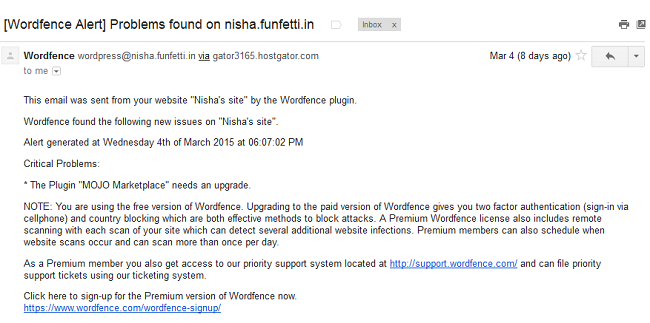 Wordfence email security alert