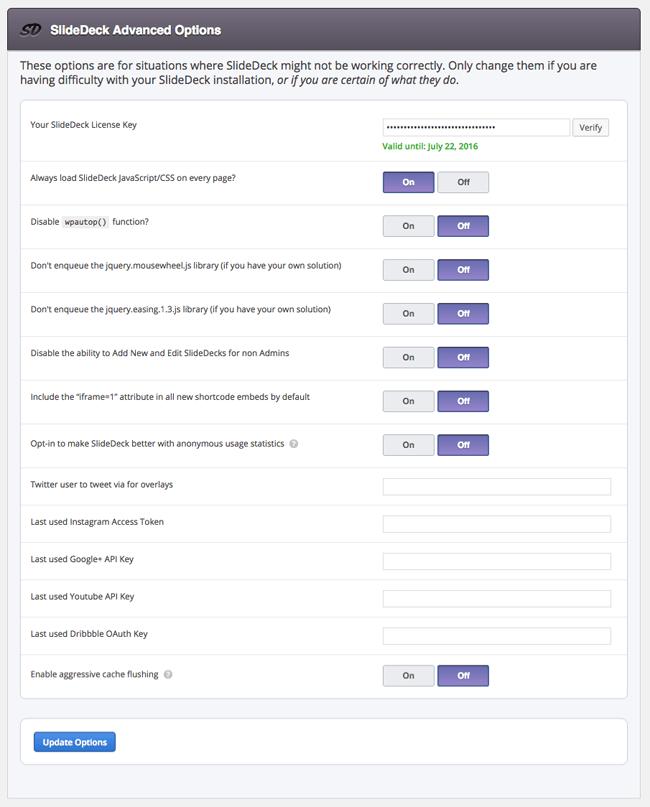 SlideDeck Advanced Options