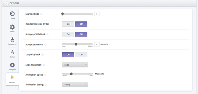 SlideDeck Options Playback