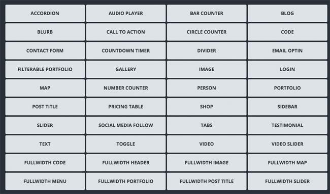 Divi Builder Module List
