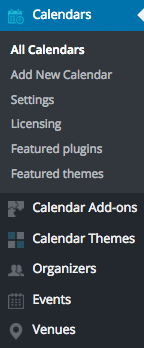 Event Calendar WD Admin Menu