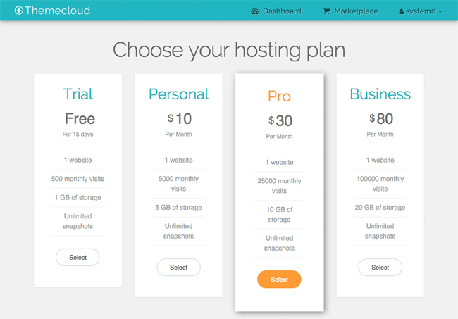ThemeCloud Hosting Plans