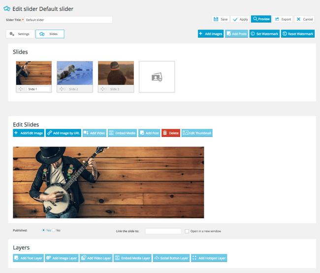 The Edit Slider Page