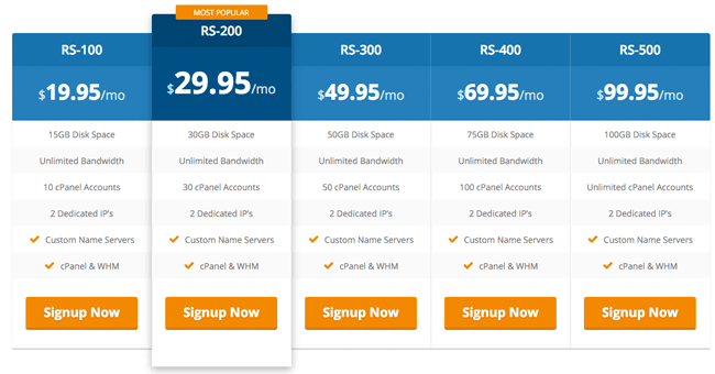 HostUpon Reseller Hosting Plans