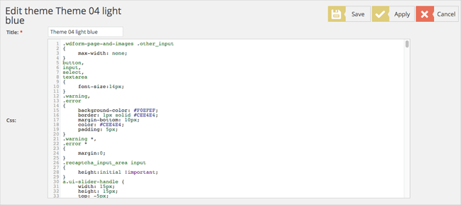 Edit Form Theme CSS