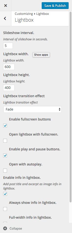 Customizer Lightbox Menu