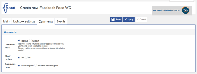 Facebook Feed WD Comment Settings