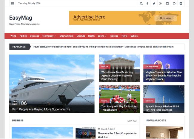 EasyMag Free Magazine WordPress Themes