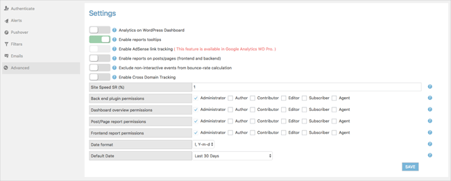 WD Google Analytics Advanced Settings