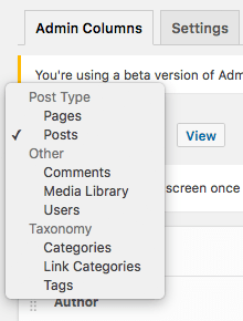 Selecting an Admin Screen