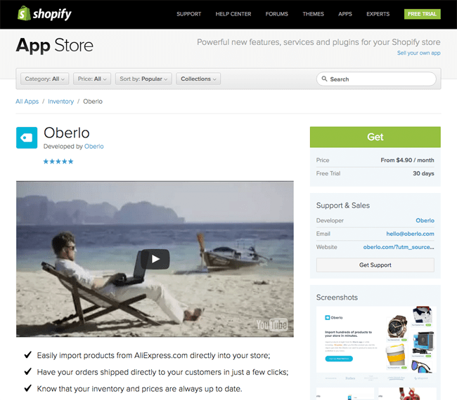 Oberlo Shopify Listing Page