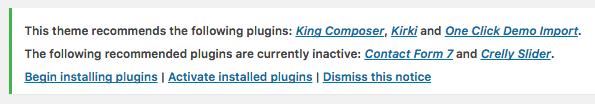 Plugin Notification Menu