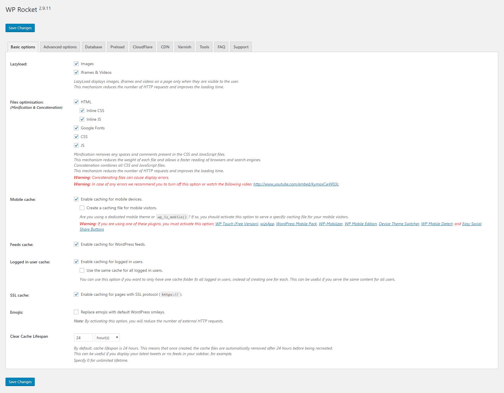 WP Rocket Basic Options