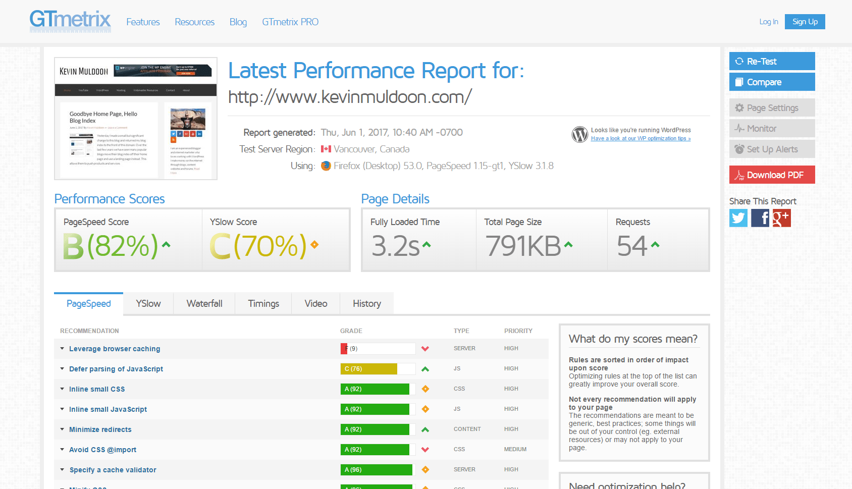 GTmetrix report for my home page before caching.