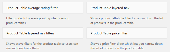 WooCommerce Product Table Widgets