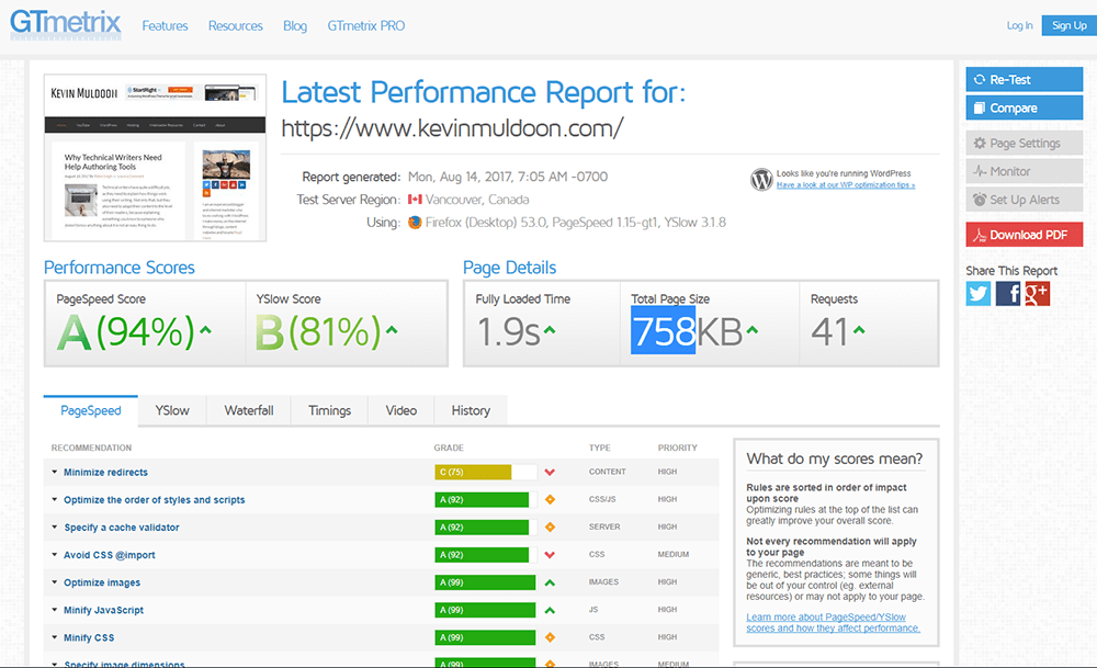 GTmetrix report for my home page with Breeze enabled.