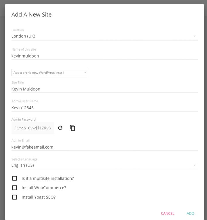 Add a WordPress Website